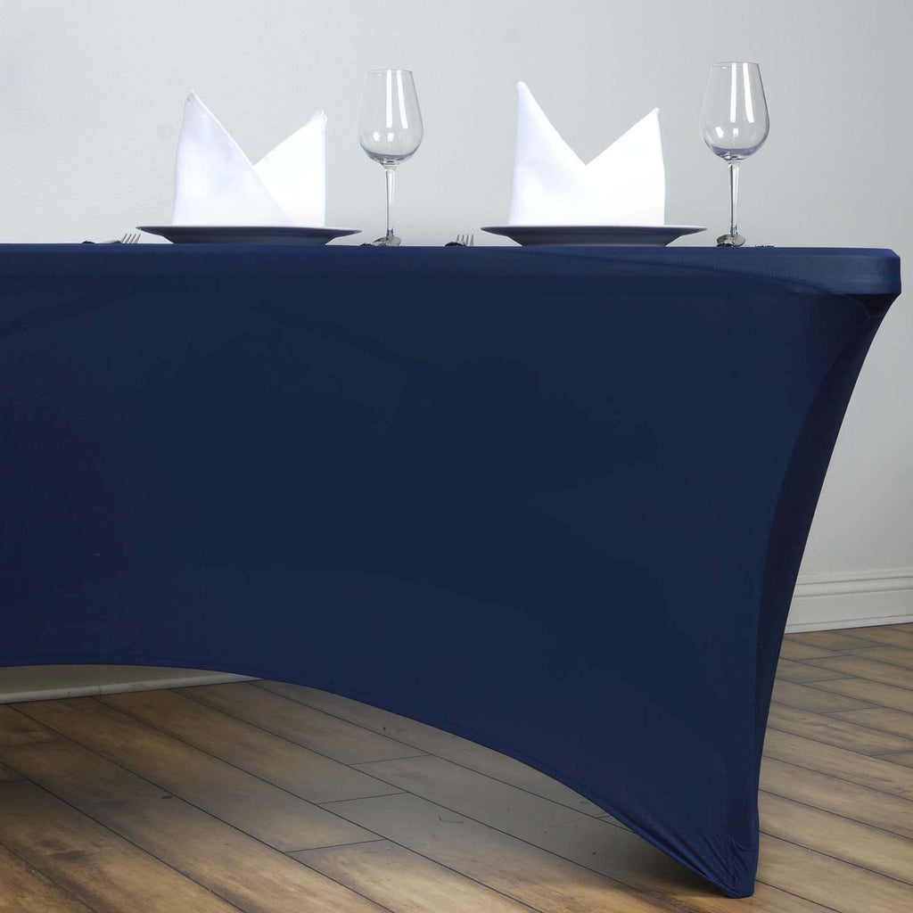6 Ft Rectangular Spandex Table Cover Navy Tablecloths