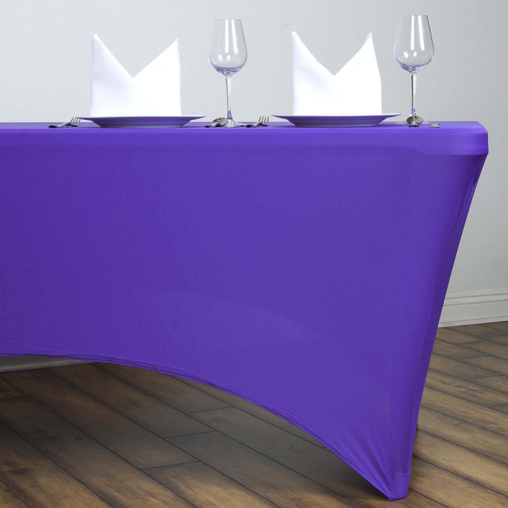 6 Ft Purple Rectangular Stretch Spandex Tablecloth