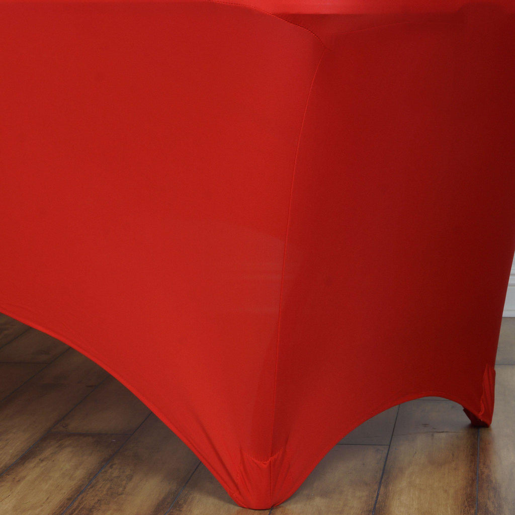 6 Ft Rectangular Spandex Table Cover Red Tablecloths