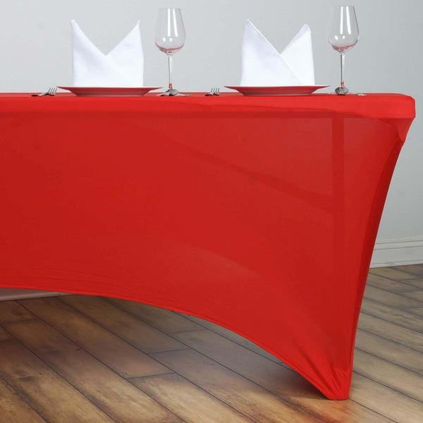 6FT Red Rectangular Stretch Spandex Tablecloth