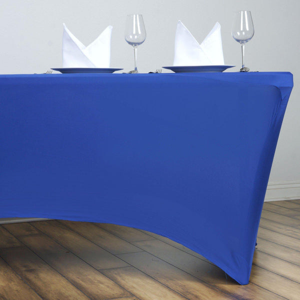 6FT Royal Blue Rectangular Stretch Spandex Tablecloth