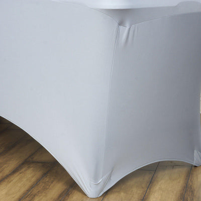 6 Ft Rectangular Spandex Table Cover - Silver#whtbkgd