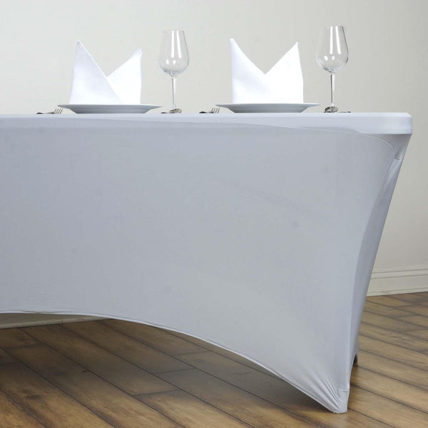 6FT Silver Rectangular Stretch Spandex Tablecloth