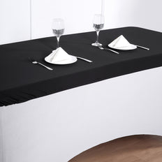 6FT Black Rectangular Stretch Spandex Table Top Cover