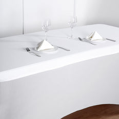 6FT White Rectangular Stretch Spandex Table Top Cover
