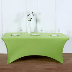 8FT Apple Green Rectangular Stretch Spandex Tablecloth