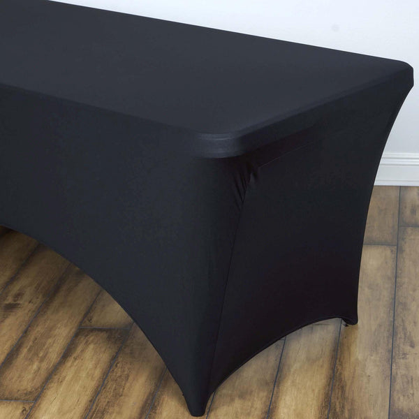 8FT Black Rectangular Stretch Spandex Tablecloth