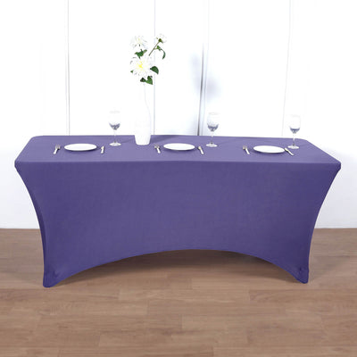 8FT Purple Rectangular Stretch Spandex Tablecloth