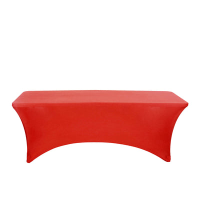 8FT Red Rectangular Stretch Spandex Tablecloth