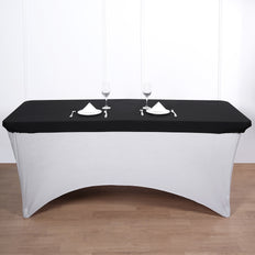 8FT Black Rectangular Stretch Spandex Table Top Cover