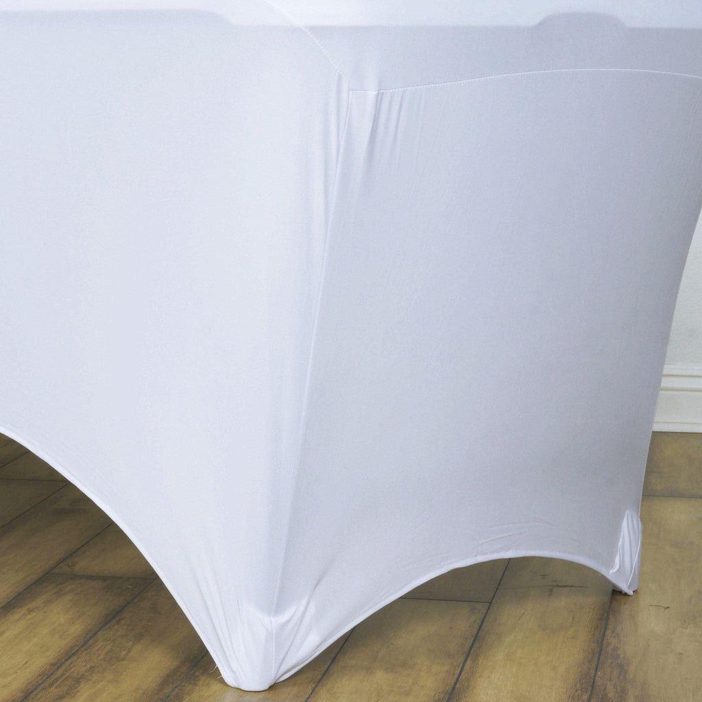 8 Ft Rectangular Spandex Table Cover White Tablecloths