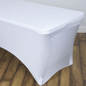 8 Ft Rectangular Spandex Table Cover - White