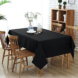 "60x126"" Black Commercial Grade 250 GSM Polyester Round Tablecloth"