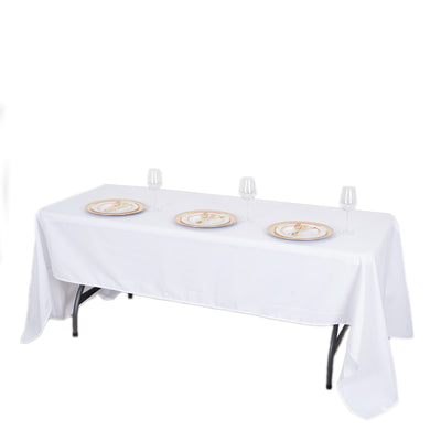 "60x126"" White Commercial Grade 250 GSM Polyester Round Tablecloth"