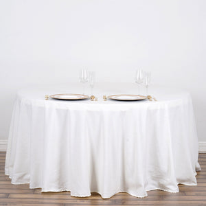 "120"" Ivory Round Tuscany-Inspired 250gsm Polyester Tablecloth"