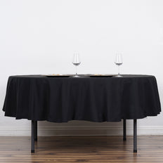 "90"" Black Commercial Grade 250 GSM Polyester Round Tablecloth"