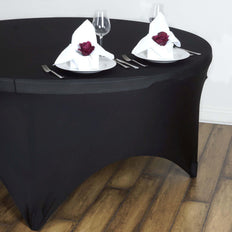 Black Spandex Tablecloth 60""