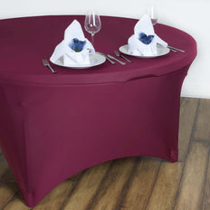 Burgundy Spandex Tablecloth 60""