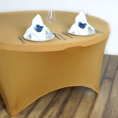 Gold Spandex Tablecloth 60""