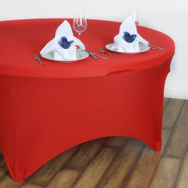 5FT Red Round Stretch Spandex Tablecloth Restaurant