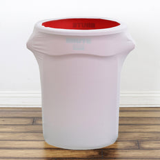 24-40 Gallons White Stretch Spandex Round Trash Bin Container Cover