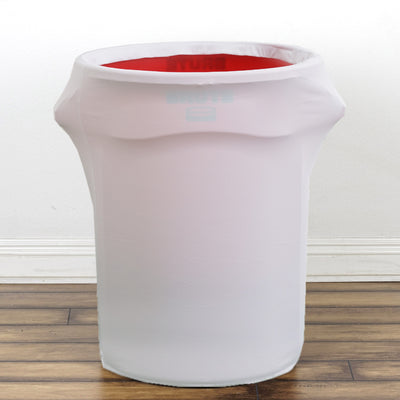 41-50 Gallons White Stretch Spandex Round Trash Bin Container Cover
