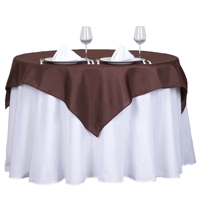"54"" Chocolate Square Polyester Table Overlay"