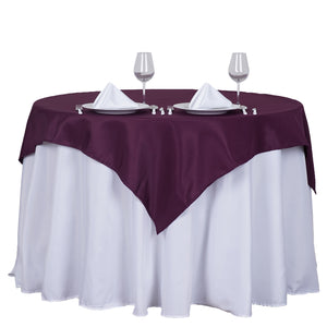 "54"" Eggplant Square Polyester Table Overlay"