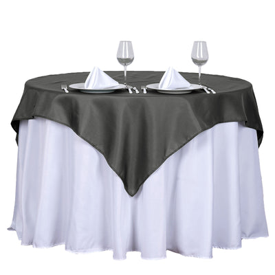 "54"" Charcoal Gray Square Polyester Table Overlay"