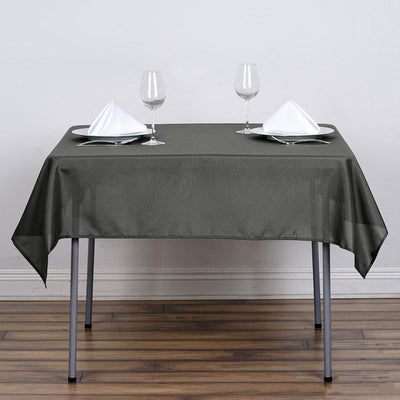"54"" Charcoal Grey Square Polyester Tablecloth"
