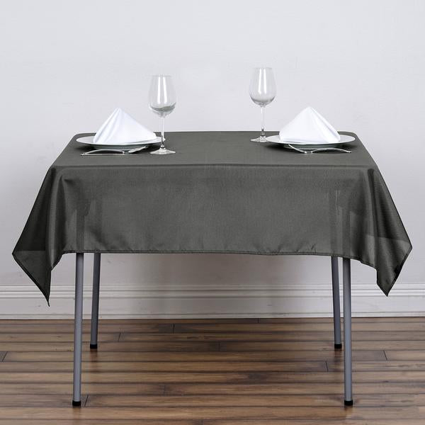 "54"" Charcoal Gray Square Polyester Tablecloth"
