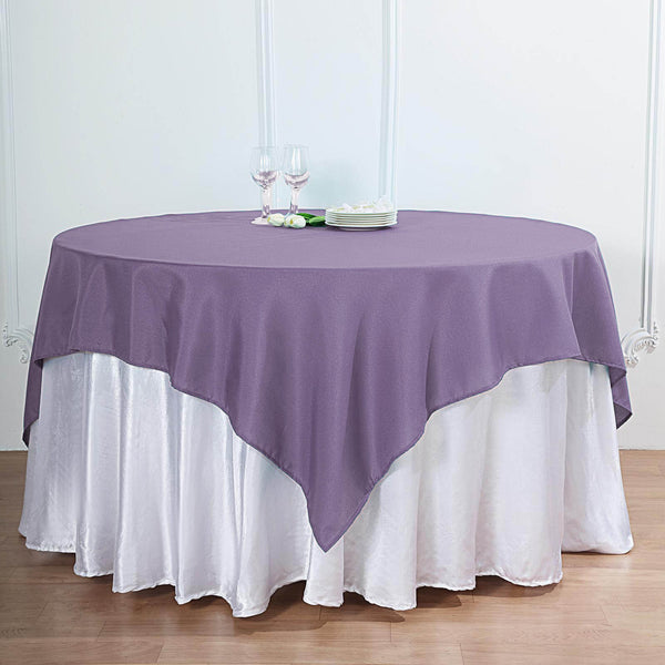 "54"" Violet Amethyst Square Polyester Table Overlay"