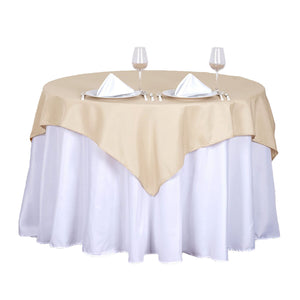 "54"" Beige Square Polyester Table Overlay"
