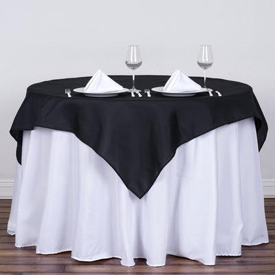 "54"" Black Square Polyester Table Overlay"