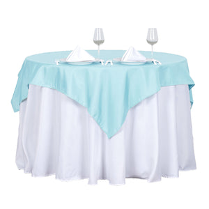 "54"" Blue Square Polyester Table Overlay"