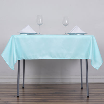 54 inches Blue Square Polyester Tablecloth