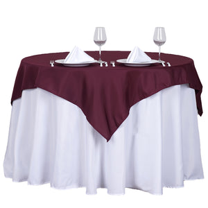 "54"" Burgundy Square Polyester Table Overlay"