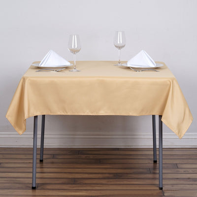 "54"" Champagne Square Polyester Table Overlay"