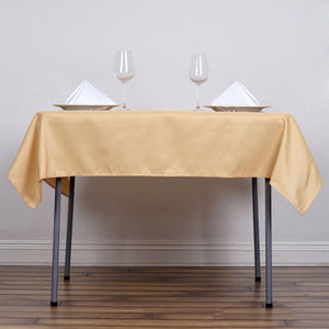 "54"" Champagne Square Polyester Tablecloth"