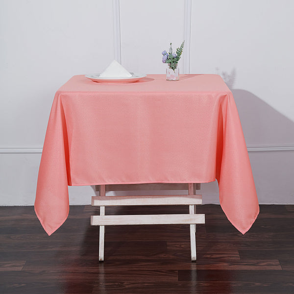 "54"" Coral Square Polyester Tablecloth"