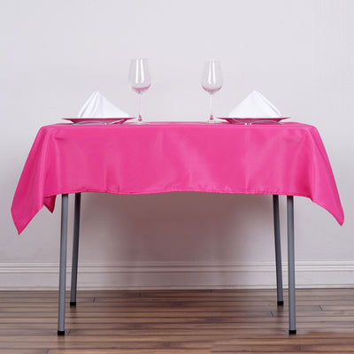 "54"" Fushia Square Polyester Tablecloth"