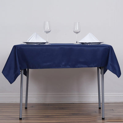 "54""x54"" Navy Blue Seamless Polyester Square Linen Tablecloth"