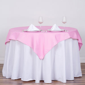 "54"" Pink Square Polyester Table Overlay"