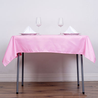"54"" Pink Square Polyester Tablecloth"