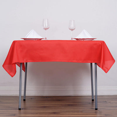 "54"" Red Square Polyester Tablecloth"