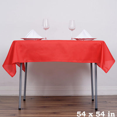 "54"" Red Square Polyester Table Overlay"