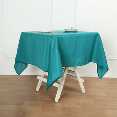 "54"" Teal Square Polyester Tablecloth"