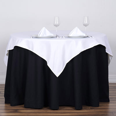 "54"" White Square Polyester Table Overlay"