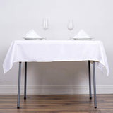 "54"" White Square Polyester Tablecloth"