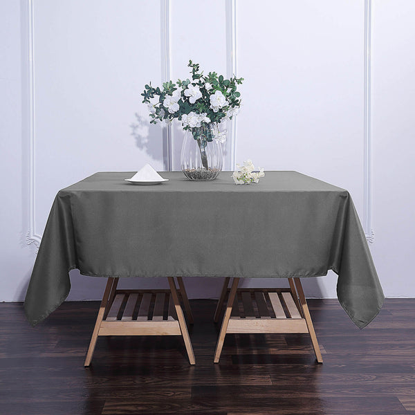 "70"" Charcoal Gray Premium Square Polyester Tablecloth"